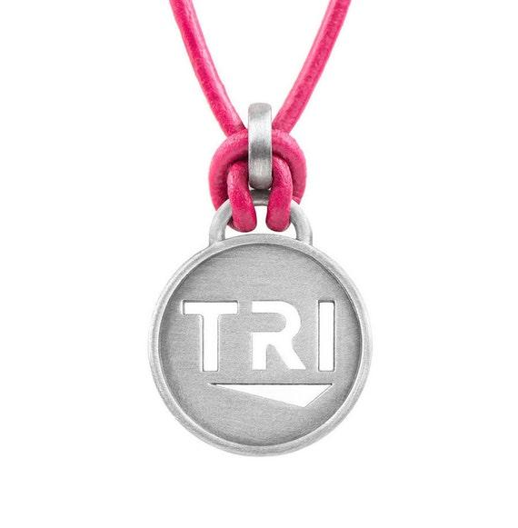 Triathlon Necklace TRI - Pink or Black leather, Triathlon Jewelry, Gift for Triathletes, Triathlon Gifts, Triathlon Inspiration, Tri Jewelry
