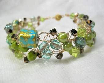 Lime and Teal Crocheted Bead Bracelet, wire crochet bracelet, handmade beaded jewelry
