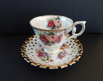 Kelvin Fine China Teacup & Saucer - Rose Pattern