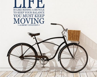 Life Is Like Riding a Bicycle - Albert Einstein Wall Decal Quote - Vinyl Word Art