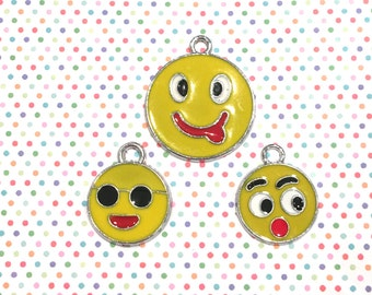 Emoji Smiley Face Charms-- Enameled/Painted/Colored --3 pieces-(Nickel Plated)--style 973-Free combined shipping