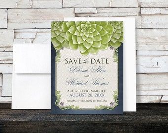 Rustic Succulent Save the Date Cards - Garden Green Navy Blue Gray Beige Canvas