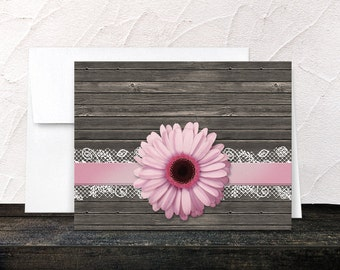 Pink Daisy Note Cards - Ribbon Lace Rustic Country Wood Floral Pink and Brown - Blank Inside Thank You Cards - Printed
