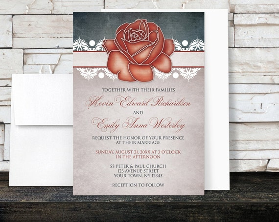 country rose wedding invitations and rsvp cards red floral blue