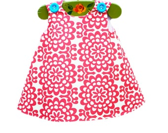 Amy Butler Lotus Wall Flower Cherry  - Baby Girl - Girls Aline - 1st Birthday Party Outfit - Party Dress - Summer Dress - Girls Clothing