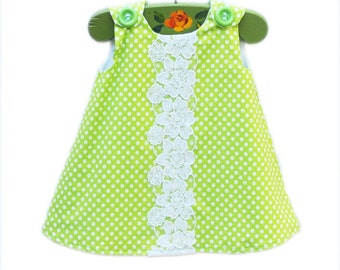 Spring Girls Dress - With Handmade Floral Crochet Piece - Children Clothing - Etsy Kids - Etsy Baby - Girls Clothing Pattern