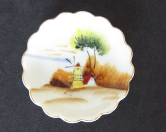 Occupied Japan Miniature Plate Rustic Windmill and Farmhouse, Circa 1940s