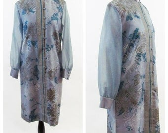 Vintage 1970s Dress- Blue Alfred Shaheen Asian Style Dress- Hand Painted Vintage Dress- Sizes Small to Medium