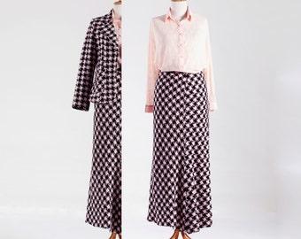 Retro 50s Pepita 2 parts Woman Suit – Skirt & Blazer – woven in Beautiful Pink-White-Black, 1990 Vintage