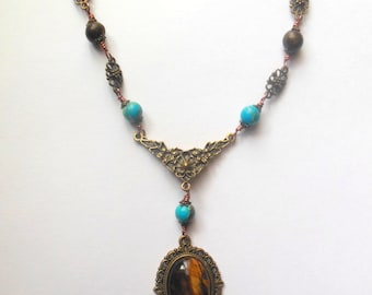 Bronze, turquoise colour necklace with tigers eye stone pendant. goth, Victorian.