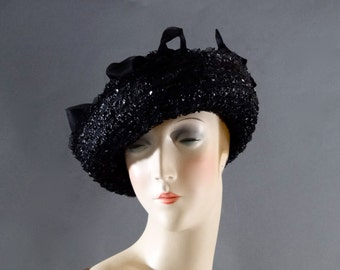 Black Straw Boater Hat - Tiny Bows on Crown and Horsehair Lace on Brim - Women's Vintage Accessories 1960's