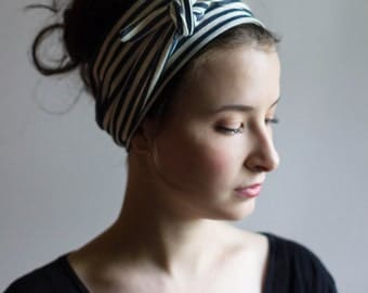 wide headbands for women- womens twisted headband- womens headband- turban headwrap-  hair accessories- navy and ivory stripe