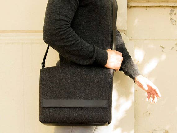 Mens MESSENGER BAG / black messenger bag / felt and leather messenger bag / mens satchel / messenger bag for men / mens bag / made in Italy