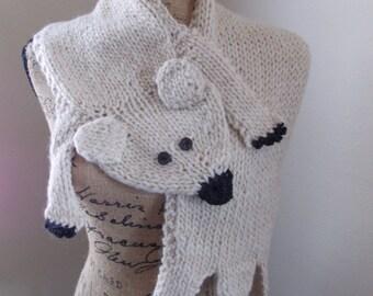Polar Bear Scarf, white bear animal stole hand knit from alpaca blend yarn, creamy white shrug shawl, off-white capelet, cross body stole
