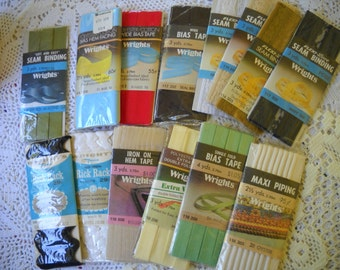Vintage Sewing Notions, Lot of 14 Notions in Original Package, Rick Rack, Seam Binding, Bias Tape, Dress Making Supplies, Craft Lot