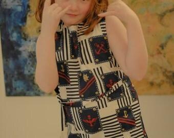 Girls Dress, Girls Vintage Dress, Girls Nautical Dress, Girls Summer Dress, Girls 70s Dress