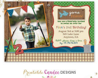 Fishing Birthday Invitation - Vintage Fishing Invitation - Fishing Birthday - Printable Fishing Invitation - Fishing Party