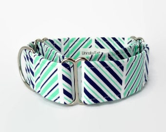 Navy & Mint Diagonal Stripes Adjustable Dog Collar - Martingale Collar or Side Release Buckle Collar  -