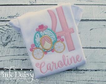 Birthday Princess Carriage Shirt. Pink, Aqua, Gold Princess Shirt. Pumpkin Carriage. Cinderella.