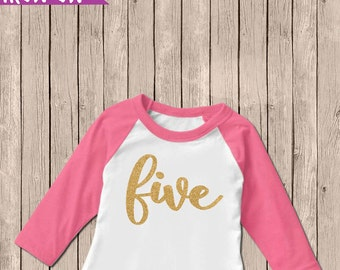 Gold Five Birthday Outfit, Iron On Decal, Fifth Birthday Iron On, 5th Birthday Outfit, DIY Iron On, Five Birthday Shirt