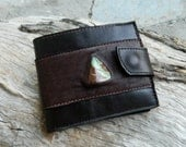 Mens Brown Leather Wallet with inlaid Australian Chrysoprase and Zipped Coin Pocket Recycled Brown Leather Wallet