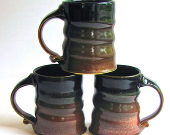 Three Handmade Mugs, Studio Pottery, by Aaron Cole, Deep Rust and Browns, Stoneware, Michigan Potter, Coffee Mugs, Hipster, Rustic