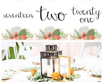 Printable Papel Picado Succulent Cactus Table Numbers 1-30