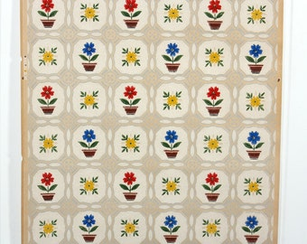 REMNANT of Vintage Wallpaper, Single 36 Inch Piece - Segmant of Kitchen Wallpaper with Red Yellow and Blue Potted Flowers on Tan Geometric