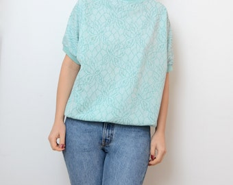 Vintage mint green 80s shiny tee