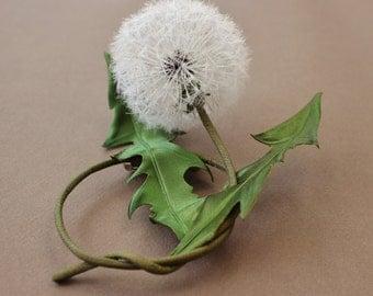 Dandelion jewelry, silk dandelion clock brooch, textile brooch, dandelion wedding, dandelion art, textile jewlery gift, dandelion gift