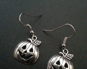 Silver Jack-o-lantern Halloween Pumpkin Earrings