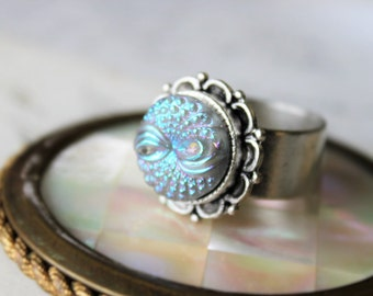 Iridescent Sky Blue Glass Ring Adjustable, Vintage Glass Button Jewelry veryDonna