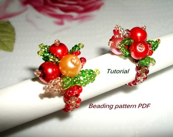 Beaded Ring. Beaded rings - Little berry. Beading Tutorial. Rings Pattern PDF. Beading pattern PDF. Instant download.