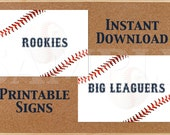 Baseball Rookies and Big Leaguers Printable Signs, Old Timers, Baseball Party Decor, Instant Download, DIY, Printables, Sports Birthday Sign