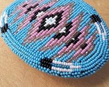 Vintage Native American beaded belt buckle - Native American beadwork