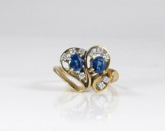 Blue Sapphire and Diamond Free Form Ring; September Birthstone Ring; Cocktail Ring; Dinner Ring; Sapphire and Diamond Ring; Vintage Ring