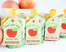 Applesauce Valentine Cards apple Printable Customized Classroom PDF
