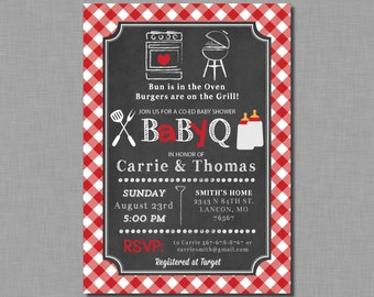 Red Baby Q invitations baby shower gender neutral coed bbq plaid Stevie BB01 Digital or Printed