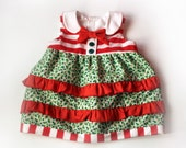 Baby Girl Toddler Christmas Dress Holly Ruffles and Striped Vintage Inspired Handmade Santas Little Helper Outfit - Ready to Ship