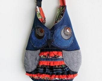 Owl Crossbody Purse Messenger Bag Upcycled Denim with Ruffles Handmade Unique Gift for Owl Lovers