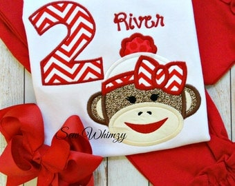 Sock Monkey shirt and bow- Sock monkey birthday shirt- Girl sock monkey- Birthday Sock Monkey shirt- Birthday girl- Monogram shirt- Custom