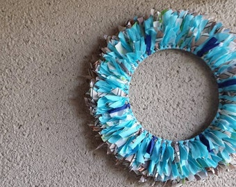 "Wreath ""At the Lake"" Wall Hanging Blue Aqua Brown Tan Vintage Fabrics Multi-Color 18 inch diameter Decor Nursery Dorm Home Centerpiece Baby"