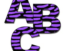 ZEBRA LETTER DECAL Purple Personalized Name Wall Art Teen Girl Room Baby abc Nursery Alphabet Decor Childrens Animal Print Bedroom Stickers