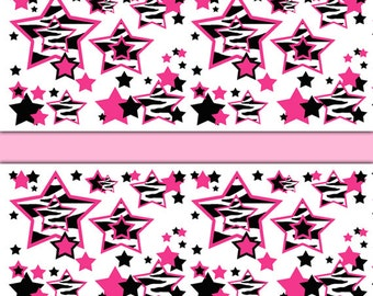 HOT PINK ZEBRA Wallpaper Border Decal Animal Print Teen Girl Star Wall Art Stickers  Room Decor Part 97