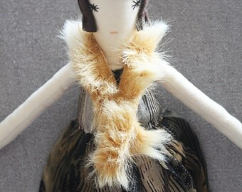 Angelina Ragdoll: Handmade from Vintage and Recycled Materials, Cloth Doll, crown, feathers, flapper girl, 1920s