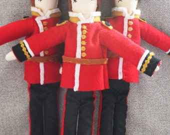 Mini Grenadier Guard Ragdolls: Soldier, Queen's Guard, Handmade from Vintage and Recycled Materials, Cloth Doll, Children