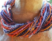 Sports Scarf, Team Colors Clemson Tigers Purple, Orange and White Multi Textural Fiber Art Fringe Scarf