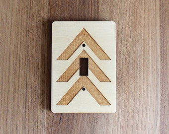 Wood Laser Cut Chevron Light Switch Plate / Cover (single switch)