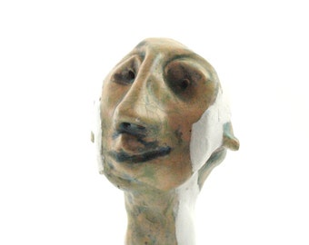 Desk accessorie sculpture, art sculpture, mini sculpture, head sculpture, ceramic sculpture, crazy art, mmodern ceramic, ceramic art