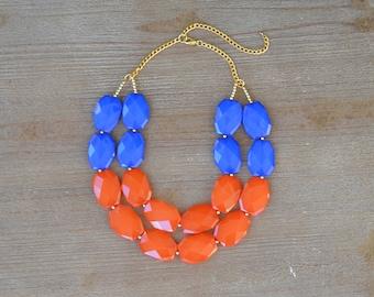 Orange and Blue Statement Necklace - Auburn Necklace - Virginia State Necklace - University of Florida Gators Jewelry - Auburn Jewelry Gift